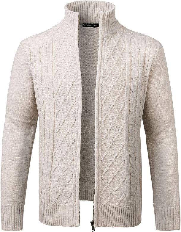 GAGA Men Casual Half Zip Stand Collar Thicken Knitwear Pullovers Sweater