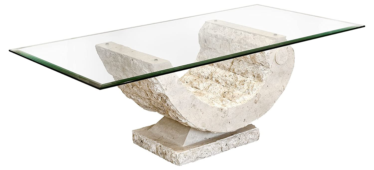 Coral Coffee Table With Fine Mactan Stone Base And Tempered Glass - Concrete and glass coffee table