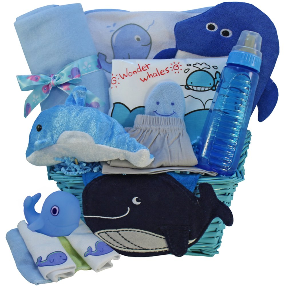 Whale Tails Fishing Fun Blue Baby Gift Basket, Boy Blue: Amazon ...