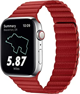 VeryBet Compatible for Apple Watch Leather Link Band 44mm 42mm Series 6 / SE, Strong Magnetic Adjustable Leather Strap with Flexible Molded Magnets for iWatch Series 5/4/3/2/1(Color Red)