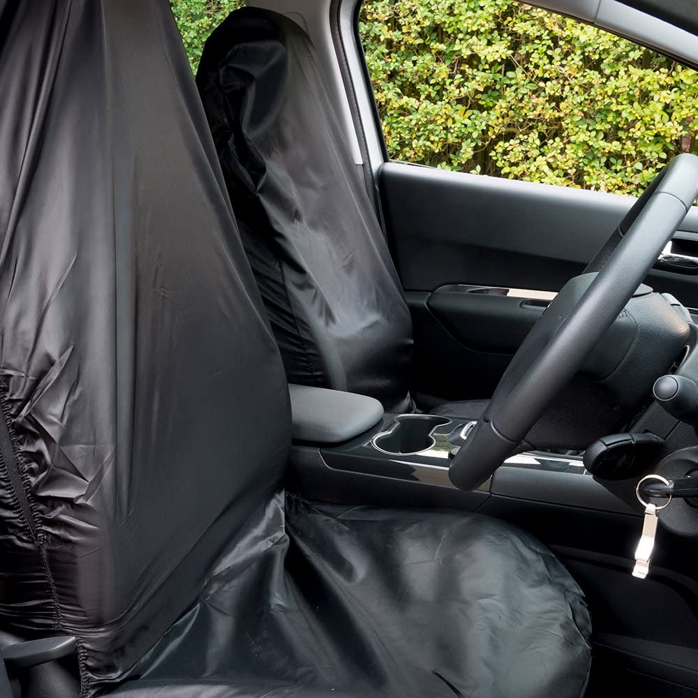 91-98 The Urban Company Seat Covers Front Black Waterproof to fit Fiat Cinquecento