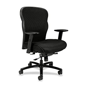 HON VL705 Mesh Back Leather Big and Tall Chair for Office or Computer Desk, Black