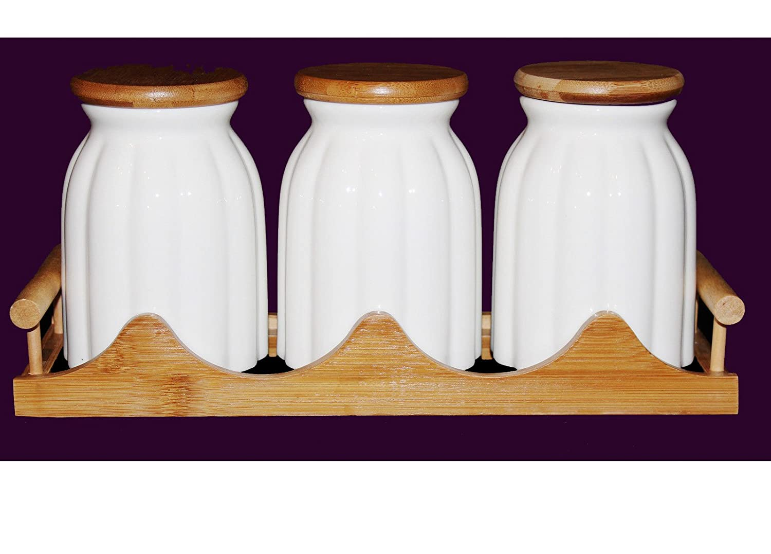 tea coffee sugar kitchen jars ceramic storage canisters bamboo