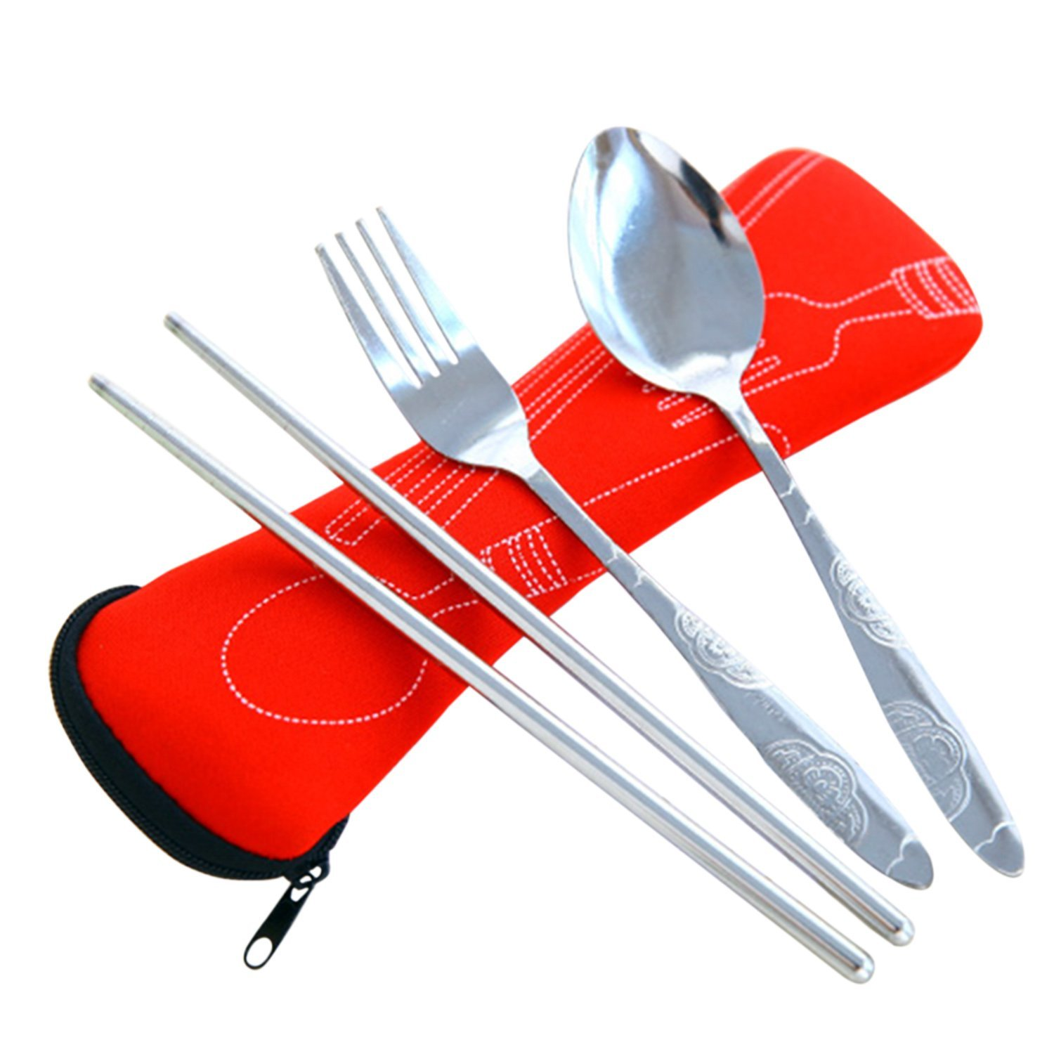 3pcs / Set Portable Stainless Steel Dinnerware Tableware Set Spoon Fork Chopsticks with Pull Chain Case Blue Gosear