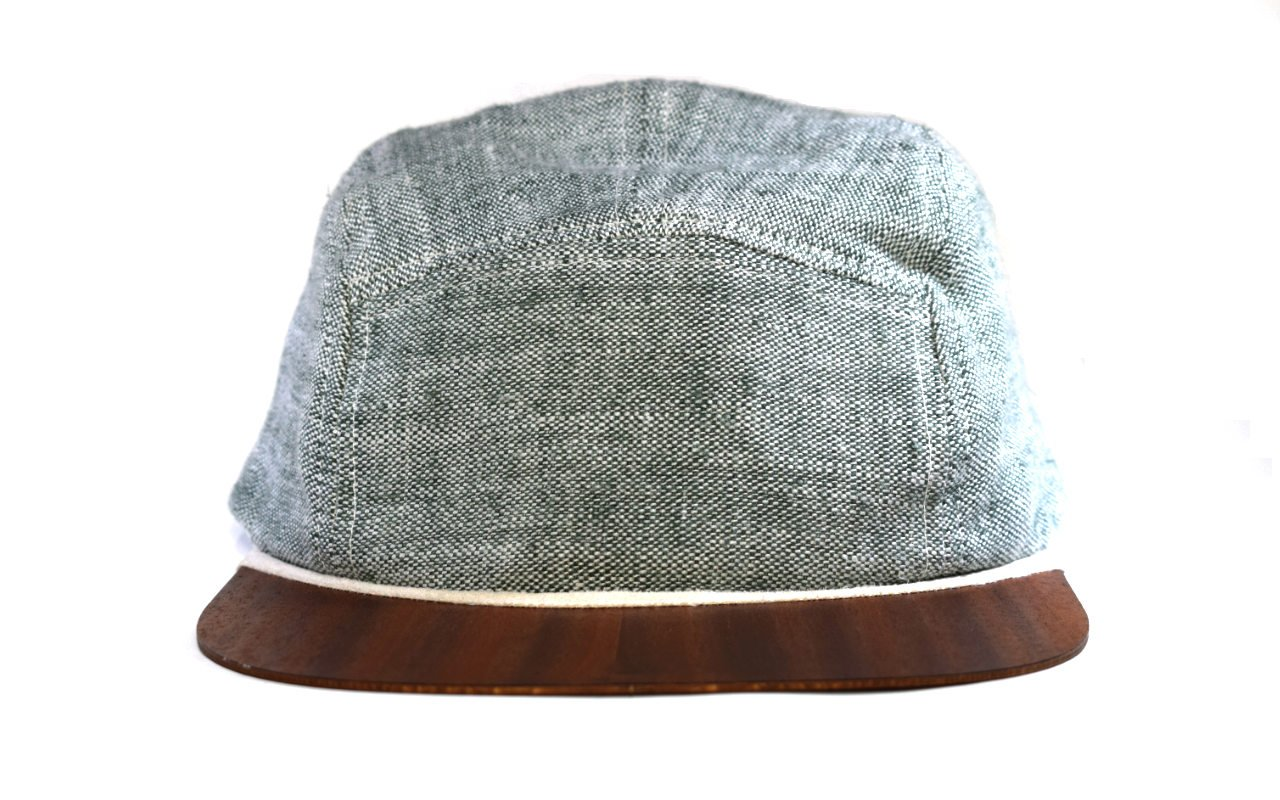 5 Panel Cap Snapback green linen with wooden visor | Baseball Cap Sun hat | Perfect fit & Lightweight | One size fits all | Unique real wood summer hat | Handmade in Germany Lou-i