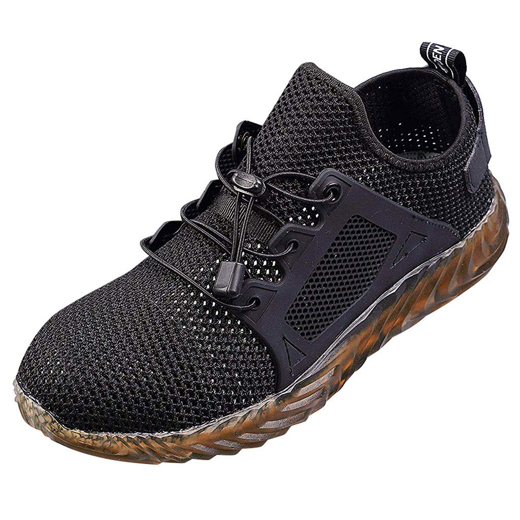 【MOHOLL】 Steel Toe Indestructible Work Shoes for Men Women Lightweight Mesh Safety Industrial Construction Shoes (Black, 36)
