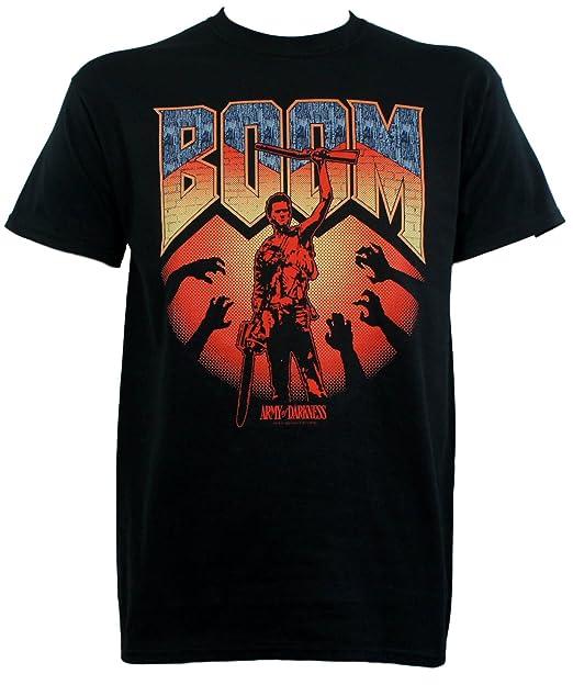 3cd349b6 Amazon.com: Army of Darkness Boom Ash Boomstick Doom Logo T-Shirt ...