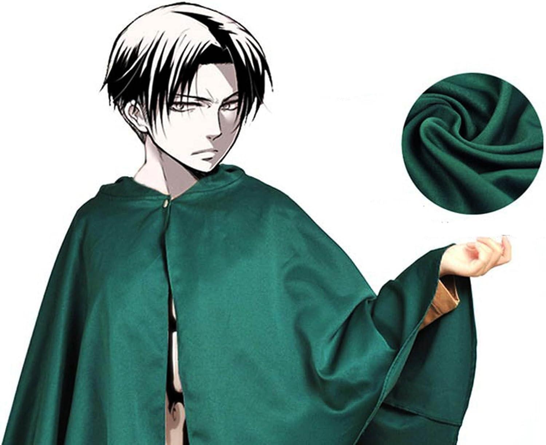Mantello Verde Attacco su Titano Attacco dei Giganti Anime Cloak Cape Rivaille Cosplay Costume Fumetto Giapponese L