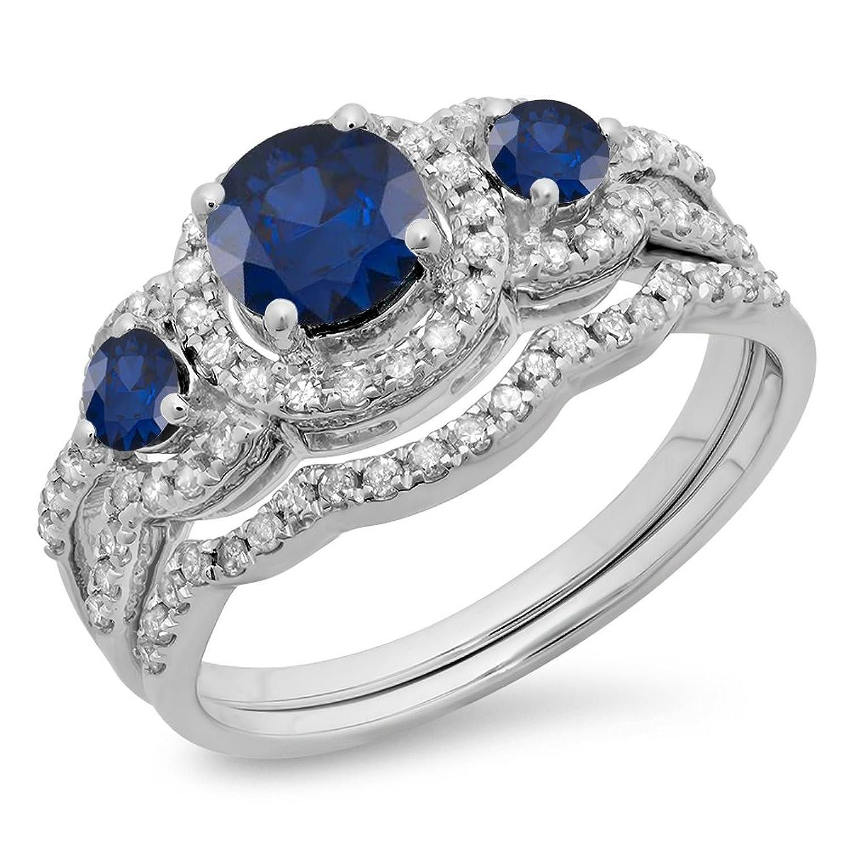 10K Gold Round Blue Sapphire & White Diamond Ladies 3 Stone Halo Bridal Engagement Ring Set