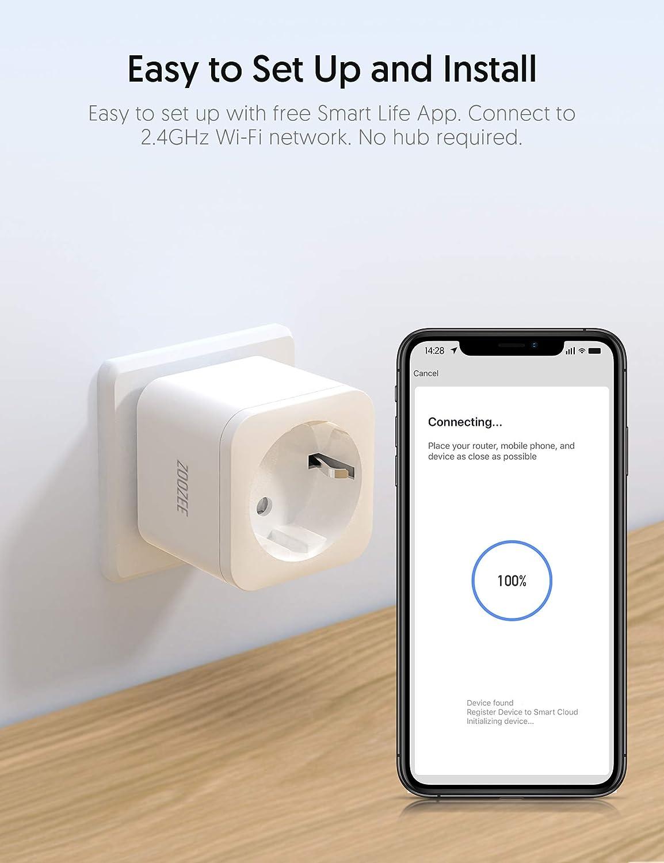 ZOOZEE Presa intelligente Wi-Fi Alexa WiFi nessun hub necessario con controllo app ovunque e in qualsiasi momento compatibile con Alexa Echo Dot e Google Home