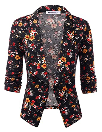 17d30eba180 TWINTH Women s Stretch 3 4 Gathered Sleeve Open Blazer Jacket Blackflower  Small