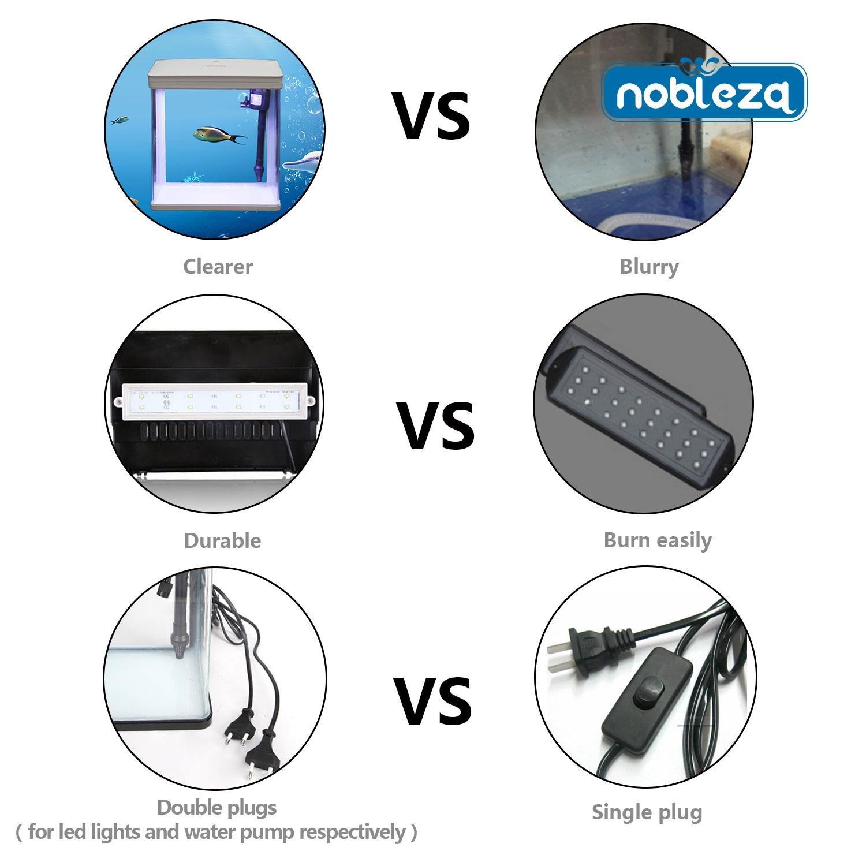 Nobleza - Acuario de Cristal con Cubierta y Luces LED. Sistema de Filtro de 7 litros. Color Blanco: Amazon.es: Productos para mascotas