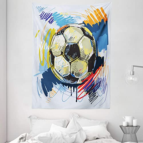 Ambesonne Soccer Tapestry, Spherical Soccer Ball Illustration with Colorful Distressed Details in Motion Art, Wall Hanging for Bedroom Living Room Dorm, 60 X 80 , Grey Pink