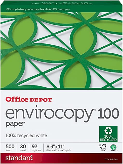 Amazon.com: Office Depot 100% reciclado envirocopy Copia Fax ...