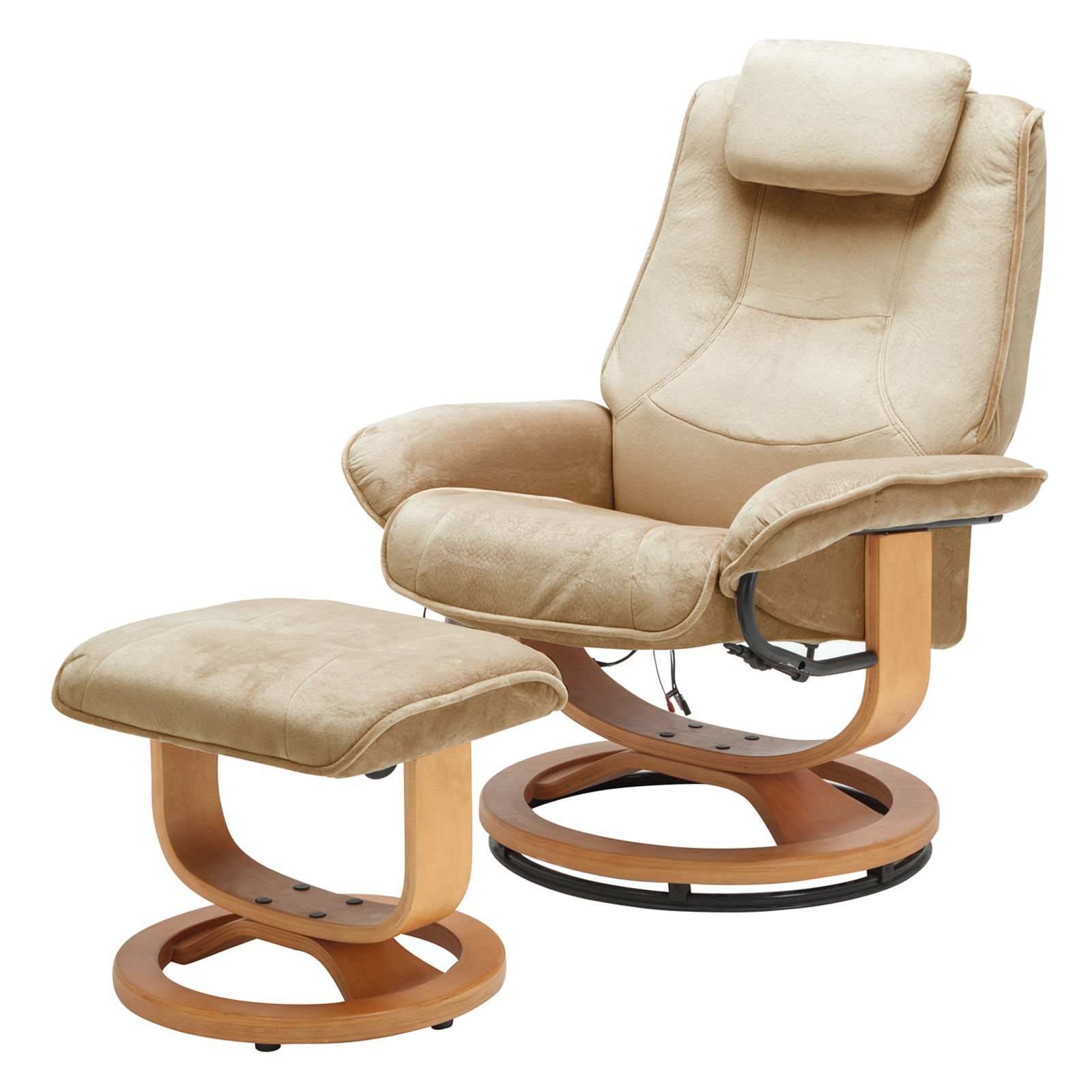 Leisure Recliner Chair 8 Motor Massage Armchair with Ottoman Footstool in Brown