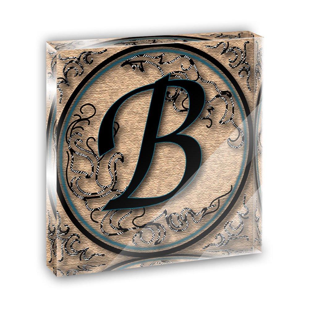 Vintage Letter B Initial Black Tan Acrylic Office Mini Desk Plaque Ornament Paperweight