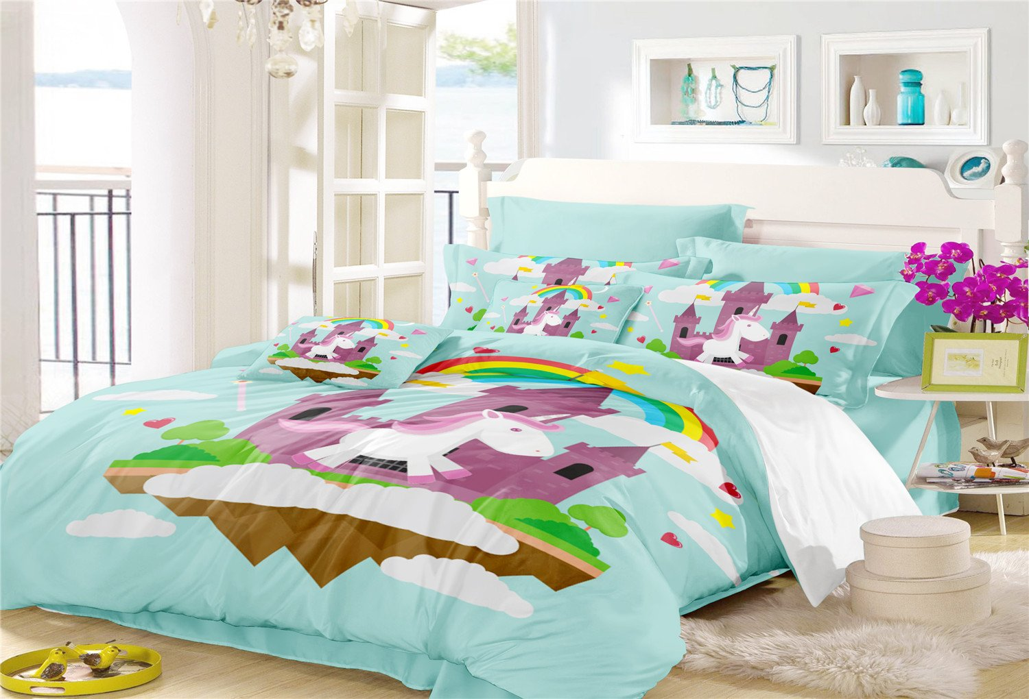 Magical Rainbow Unicorn Duvet Cover Set-1 Queen Size Duvet Cover+2 Pillowcase-Best Unicorn Gifts for Girls