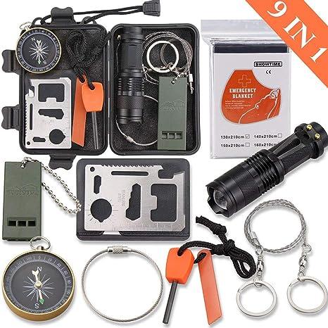 Monoki Kit de supervivencia de emergencia, 9 en 1, equipo de supervivencia compacto para exteriores, kit