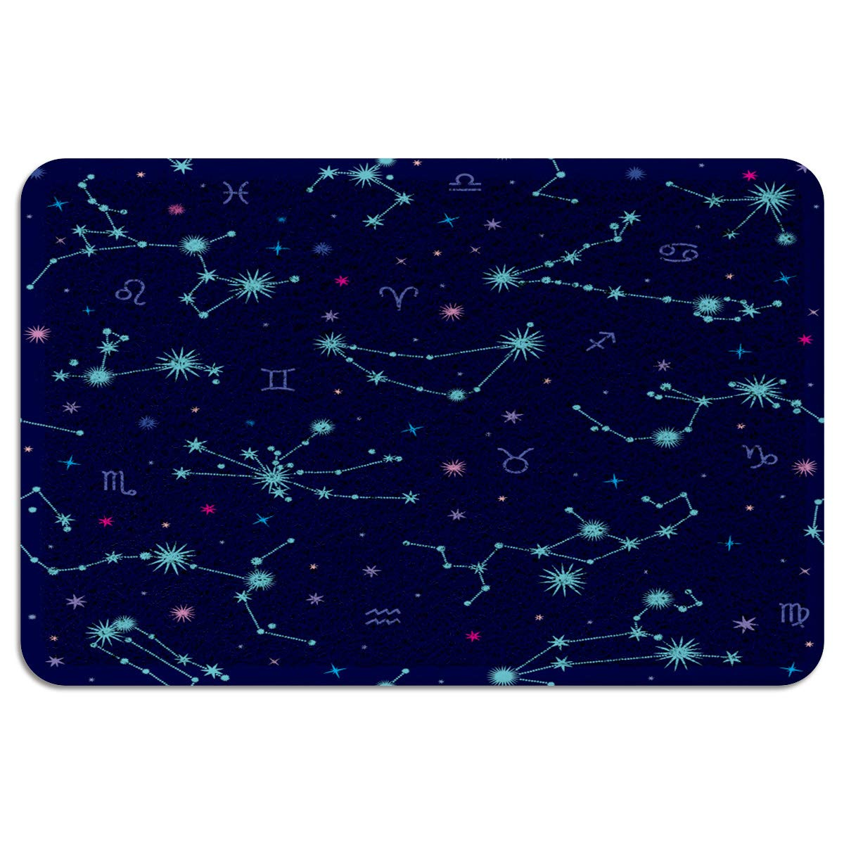 MUSEDAY Indoor/Outdoor Doormat,Durable Heavy Duty Shoes Scraper Mat,Universe Constellations On The Sky Art Simple Design Easy Clean Rug for Pet Bowl(24''x35'',W x L)
