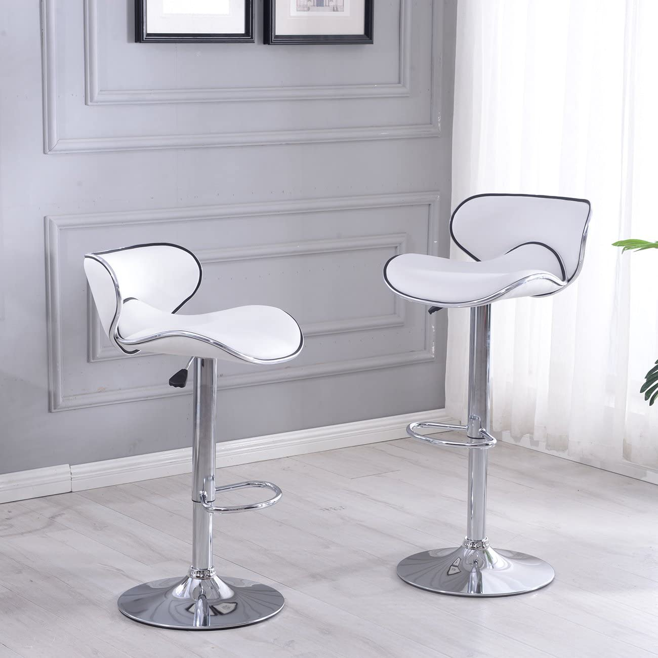 Belleze Modern Retro Adjustable White Faux Leather Swivel Bar Stools Chairs w Footrest, Sets of 2