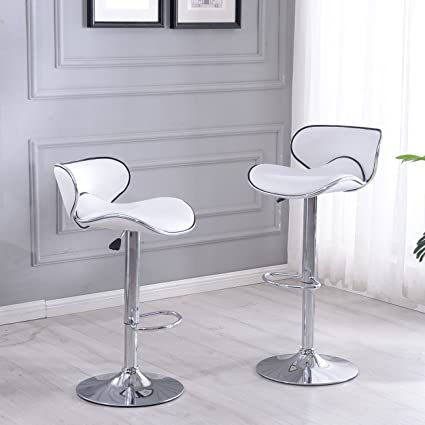 Belleze Modern Retro Adjustable White Faux Leather Swivel Bar Stools Chairs  W/Footrest, Sets