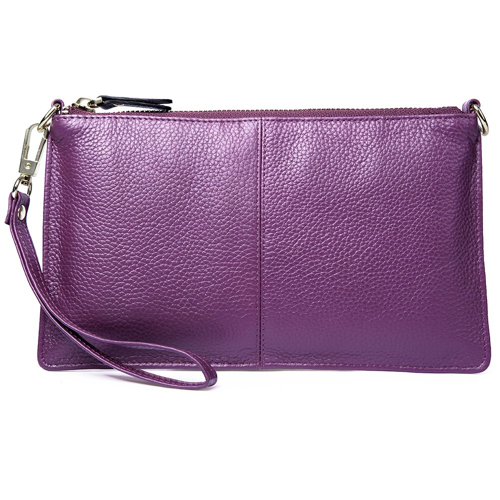 BOSTANTEN Womens Leather Cell Phone Purse Wristlet Clutch Wallets Chain Handbag Crossbody Wallet for Women Purple