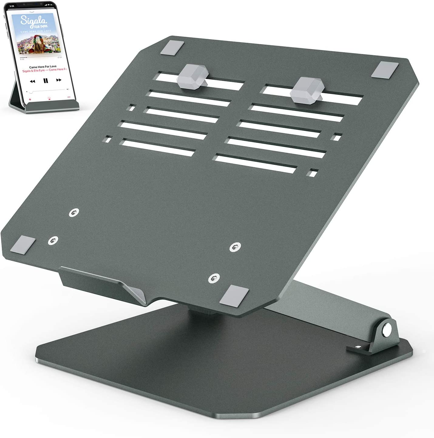 Heightened Laptop Stand, Klearlook Adjustable Laptop Riser with Heat-Vent to Elevate Laptop, Aluminum Laptop Holder with Extra Phone Holder Desktop Stand Holder for All Laptops and Tablets