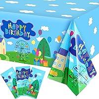 3 Piezas Manteles de Happy Birthday Cubiertas de Mesa Desechables de Plástico de Niños Mantel de Fiesta de Cumpleaños de…