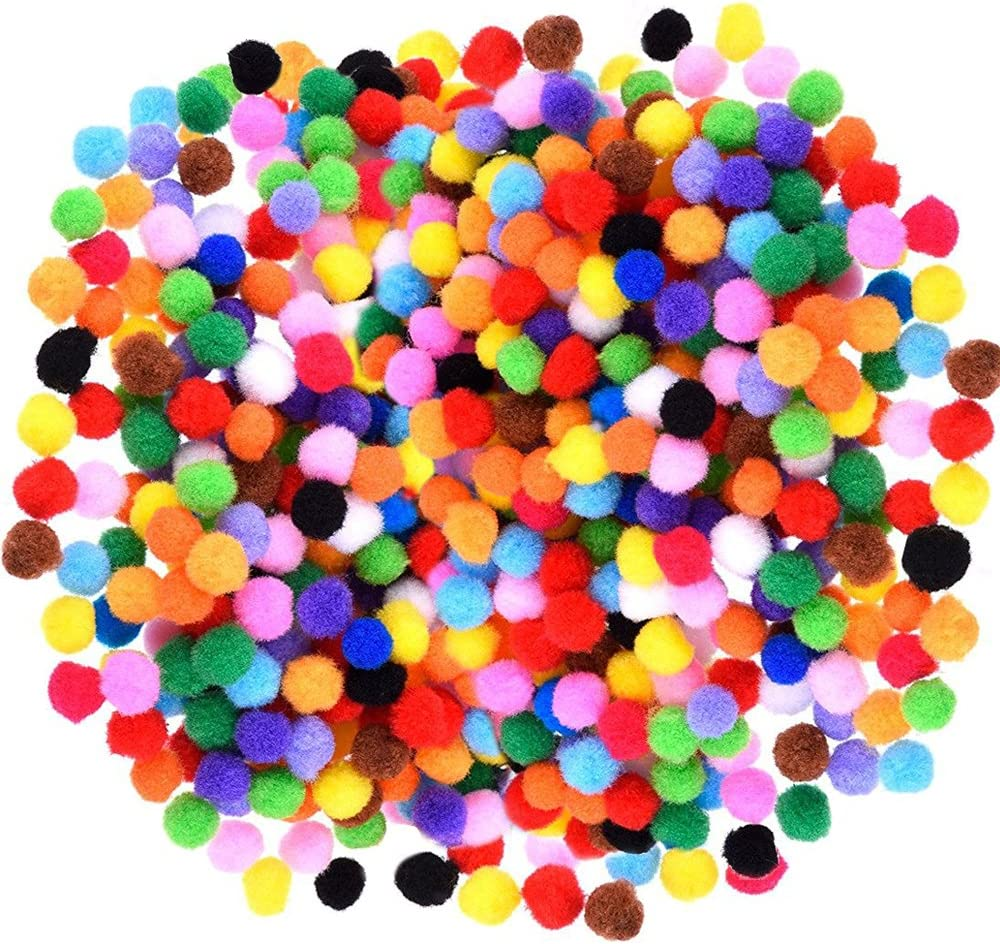 Caydo 1200 Pieces 1cm Assorted Pom Poms for DIY Creative Crafts Decorations: Office Products