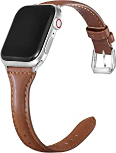 Apawband Smart Watch Strap Compatible with Apple Watch Bands 38mm 40mm Top Grain Leather Band Slim&Thin Replacement Wristband for Women iWatch Series SE 6/5/4/3/2/1(Brown,38mm 40mm)