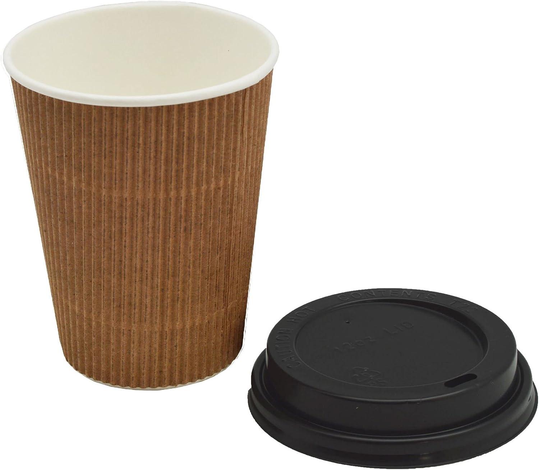 Lids Free 100 x 12oz Kraft Disposable Ripple Hot Cups Coffee Tea Cup Takeaway