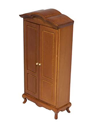 Exceptional Wooden Dollhouse Wardrobe Cabinet   Miniature Dolls House Armoire   Barbie  Closet   Light Brown