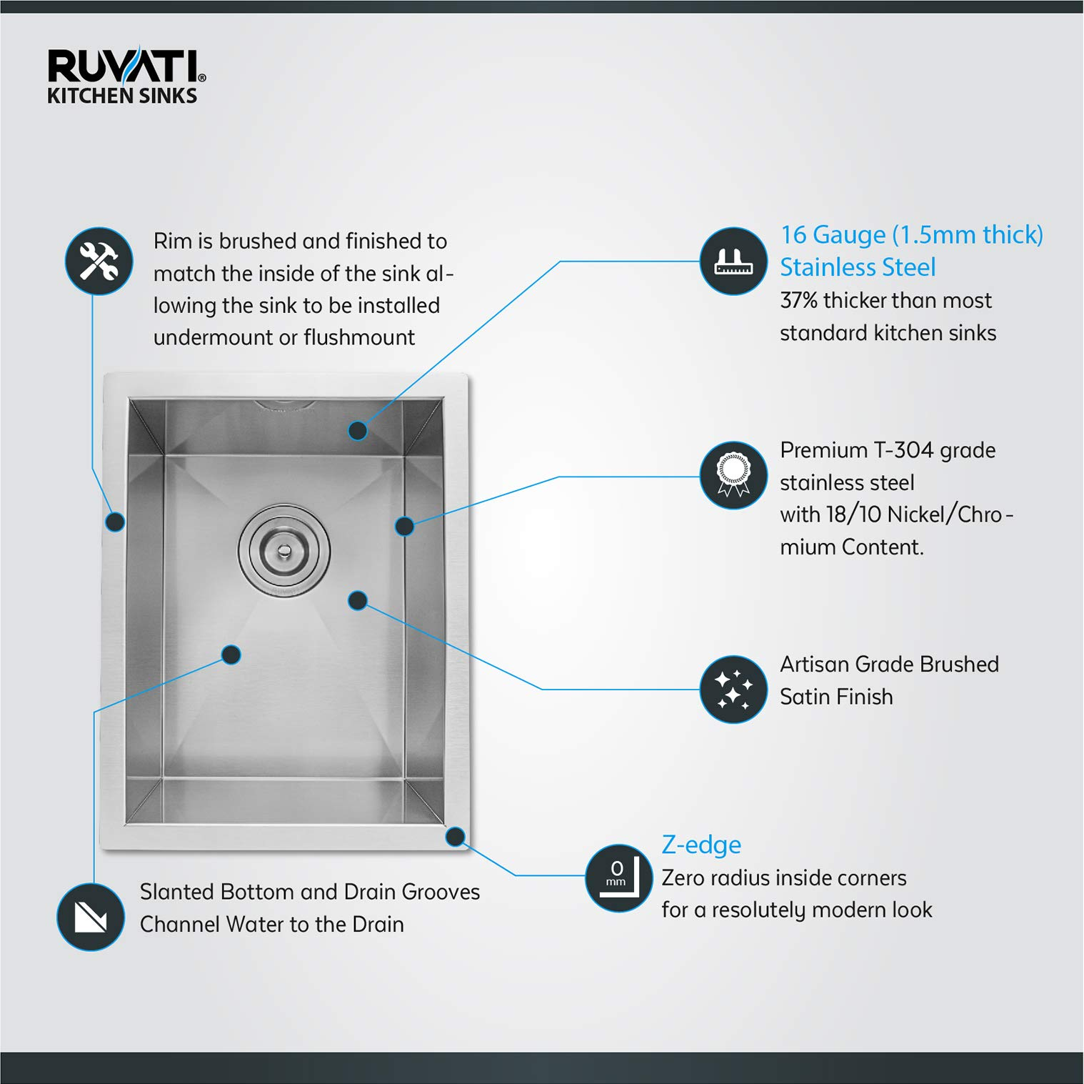 Ruvati 14-inch Undermount 16 Gauge Zero Raduis Bar Prep Kitchen Sink Stainless Steel Single Bowl - RVH7110 by Ruvati (Image #3)