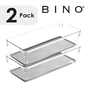BINO Multi-Purpose Oblong Plastic Drawer Organizer - 2 Pack, Light Grey - Plastic Storage Organizer for Home, Kitchen, Bath, Bedroom, and Office