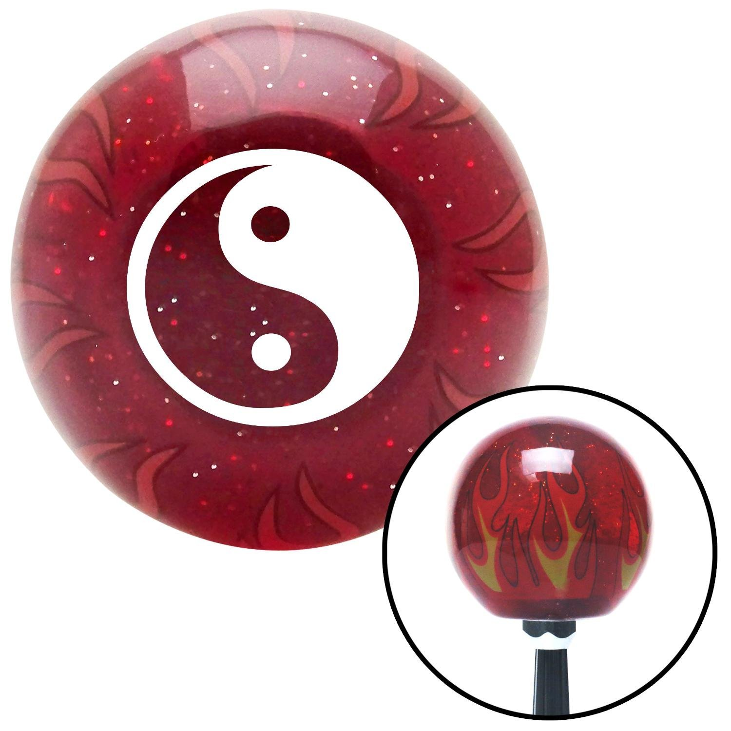 American Shifter 239914 Red Flame Metal Flake Shift Knob with M16 x 1.5 Insert White Yin /& Yang