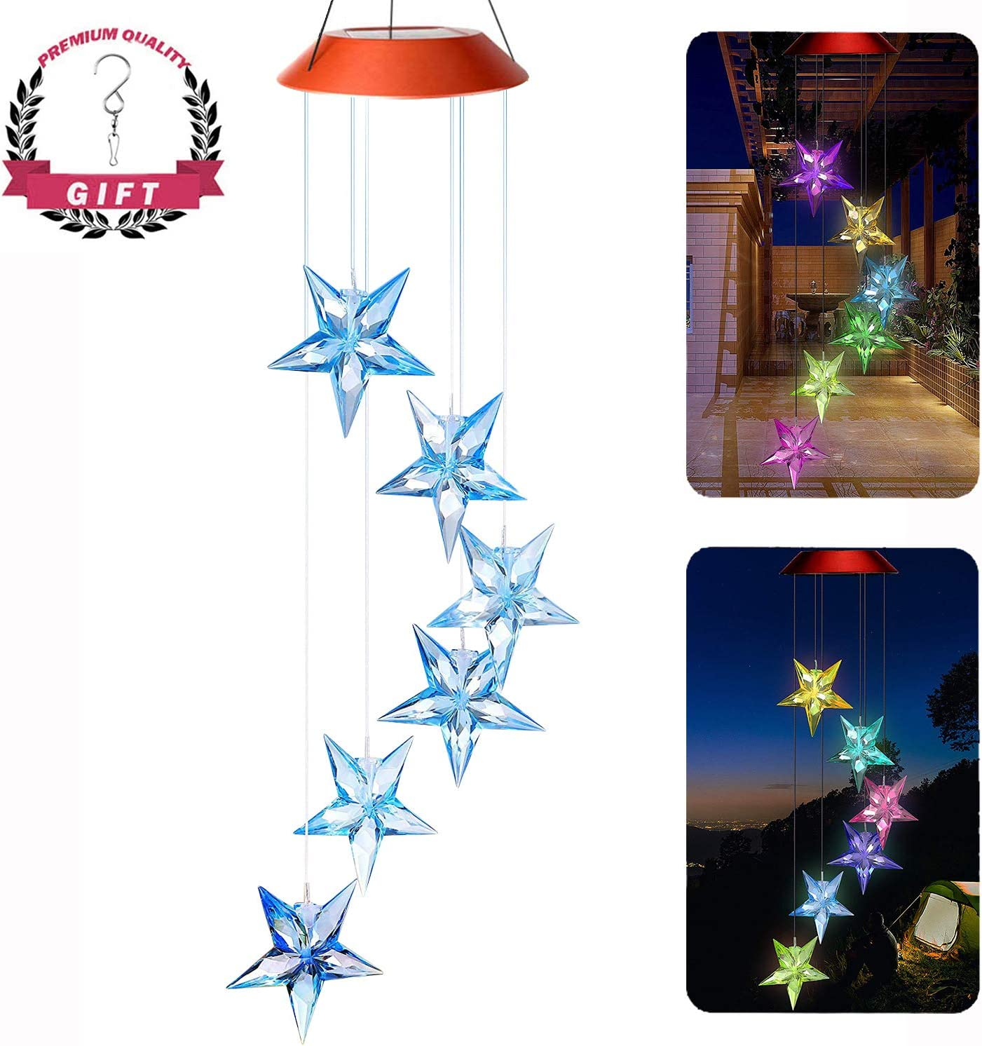 AceList Color-Changing Blue Stars Solar Mobile Wind Chime Moblie LED Light, Spiral Spinner Windchime Portable Outdoor Chime Patio Deck Yard Garden Home