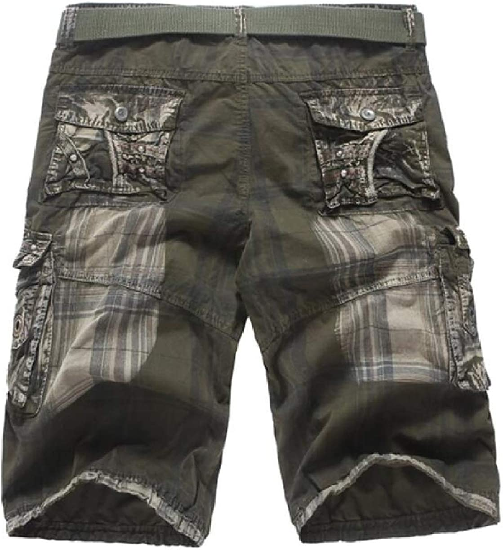 ONTBYB Mens Cotton Multi Pocket Stylish Loose Jogger Capri Cargo Shorts