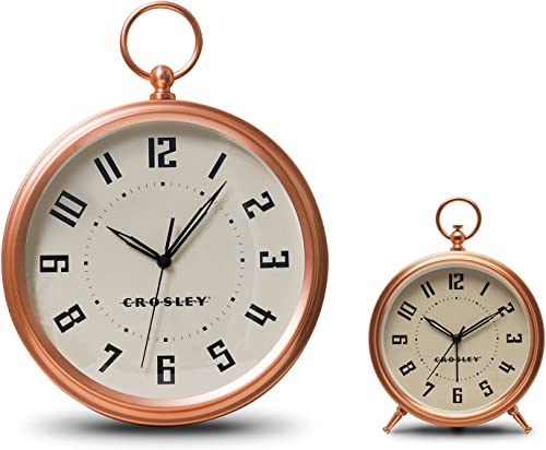Timelink Crosley Deco Finial Alarm and Wall Clock Set