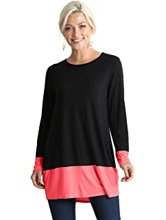 3ebbd63eeef Long Sleeve Color Block Long Shirt for Women Reg and Plus Size Tunic Tops -  Made