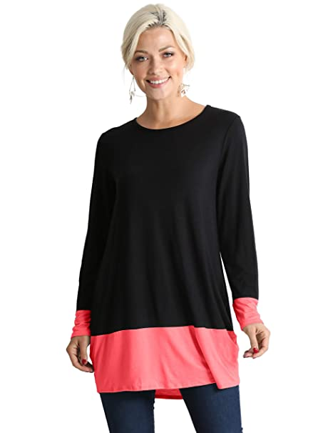 c2331ad367ee59 Simlu Long Sleeve Color Block Shirt for Women Reg and Plus Size Tunic Tops  - Made