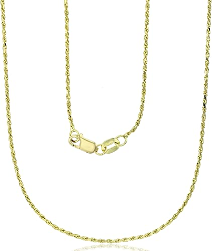 """1.25mm 3mm 14k Solid Rope Diamond Cut White Gold Chain Necklace Unisex 16/""""-30/"""""""
