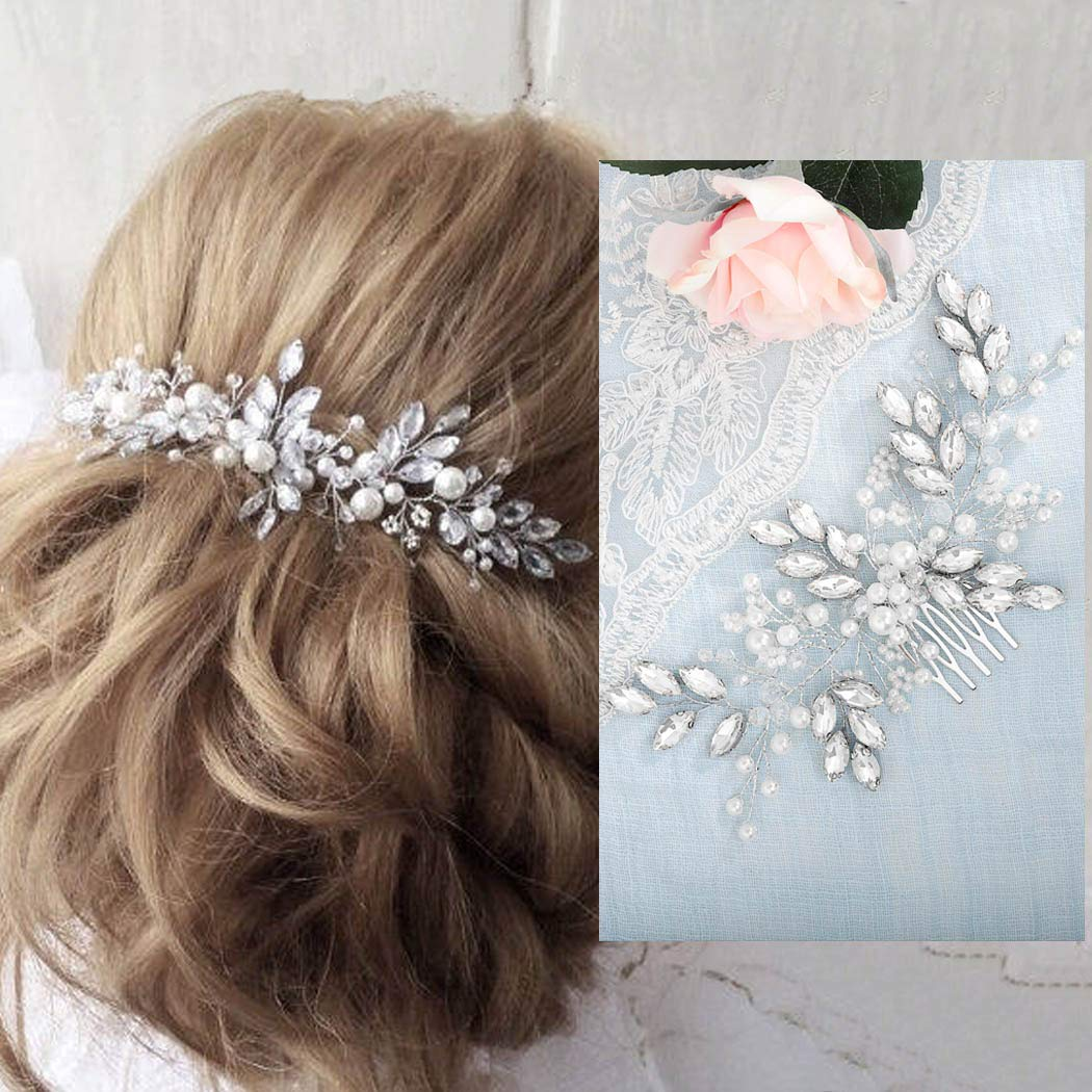 Barogirl Wedding Crystal Hair Comb Clip Bride Hair Piece Bridal Hair Accessories for Women by Barogirl