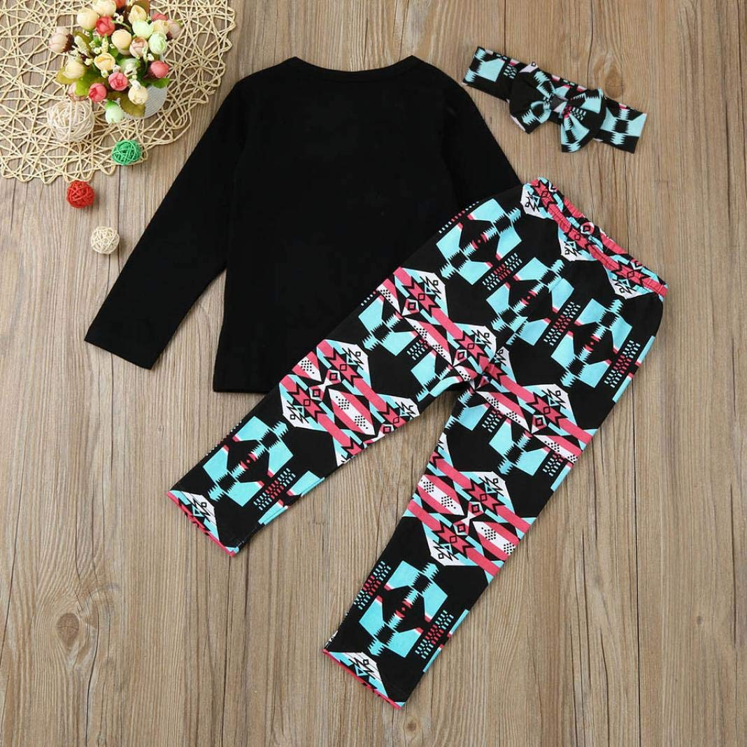 Baby Toddler Girls Kids Fall Winter Clothes Outfit Set 2-6 Years Old,3Pcs Letter Print Tops Shirt Pants Heabands