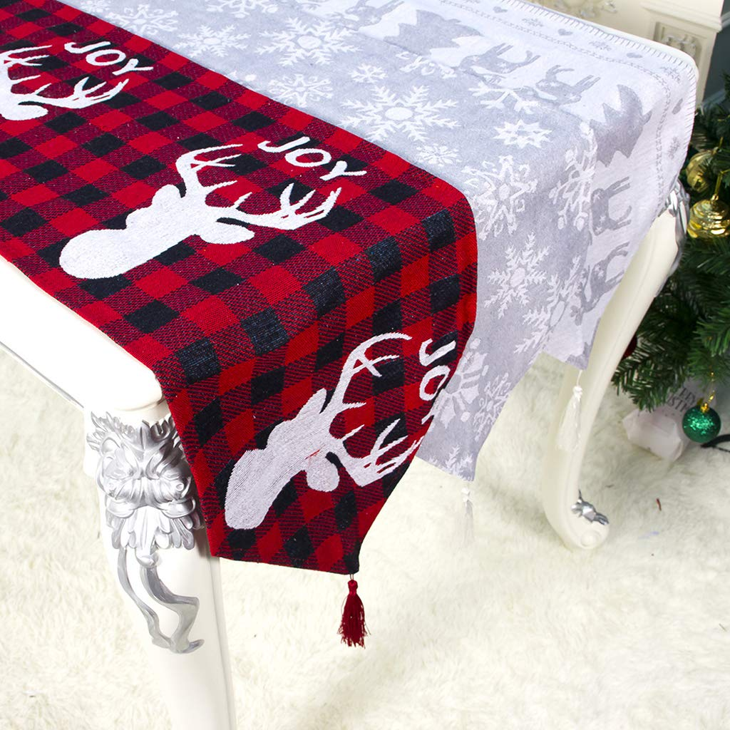 Table Runner Christmas Decorations Polyester Cotton Printed Tablecloth for Christmas Dinner Banquet Holidays,Parties