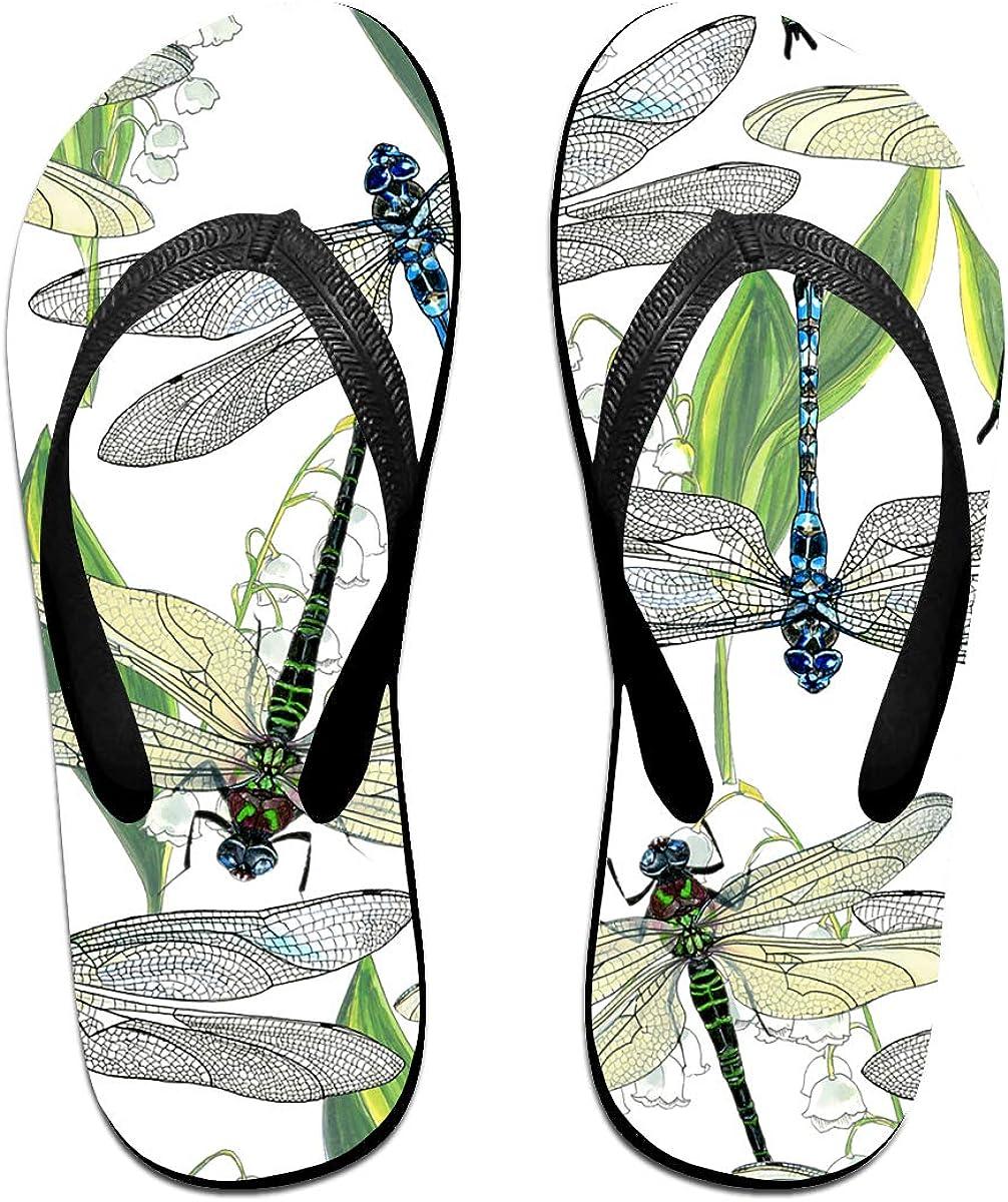 Couple Slipper Dragonflies Green Print Flip Flops Unisex Chic Sandals Rubber Non-Slip House Thong Slippers