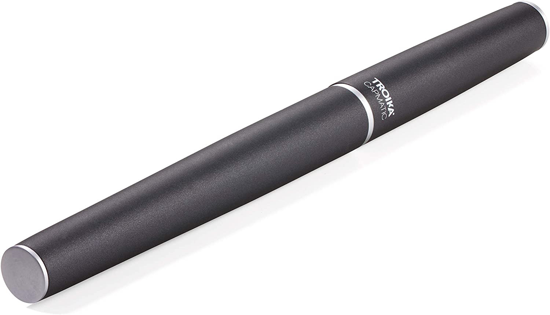 ottonato grigio TROIKA PEN65//BK colore: Nero Penna a sfera con cappuccio magnetico taglia unica da fissare alla punta della penna o alla punta della penna nero satinato in acciaio inox