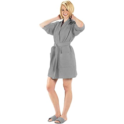 5d3c94e918 Image Unavailable. Image not available for. Color  Terry Town  RW1019-GRAY-OS Thigh Length Waffle Weave Kimono Robe ...