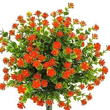 Amazon Com Kingbuy Artificial Flowers 6 Bundles Outdoor Uv