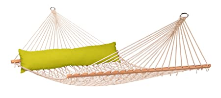 LA SIESTA California Avocado – Weather-Resistant Rope Kingsize Spreader Bar Hammock