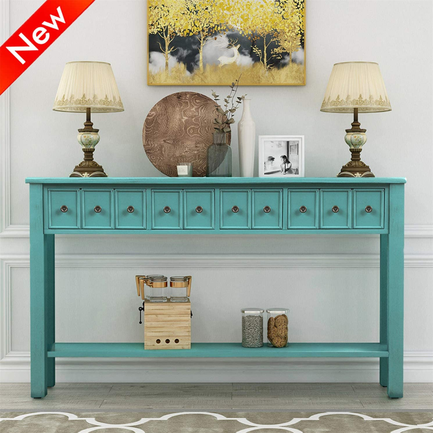 DOONHEXS Stronger Durable Console Table for Entryway, Thicken Solid Wood Sofa Tables with 2 Storage Drawers and 1 Shelf, Retro Style Entry Tables Sideboard Table for Living Room Hallway Blue-A